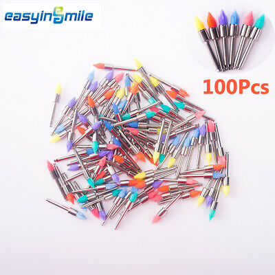 100Pc Dental Disposable Polishing Prophy Cup Brush Flat/Mane/Tapered EASYINSMILE
