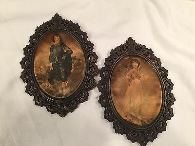 Antique Silk Victorian Repousse Picture Frames Italy Lady & Gent Silk Photos B31
