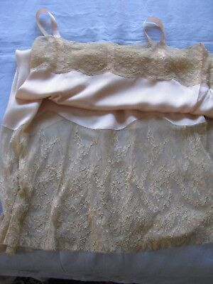 Silk Lingerie Slip Dress Vtg Chemise Wide Alencon Lace Trim Sexy Elegant 1920's