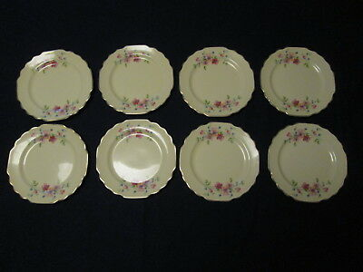 """Vintage W S George Lido Canarytone Pink Flowers Lot of 8 Bread Plates 6 5/8"""" D"""