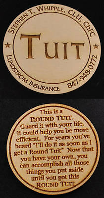 Custom Round Tuit (Qty 100) - Laser Engraved - Personalized for your Business