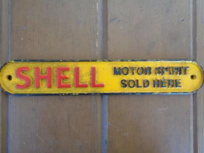 Cast Iron Advertising Gas Oil Shell Motor Spirit Sold Here Sign Plaque
