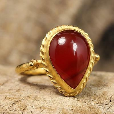 Ancient Roman Art Natural Agate Carnelian 24K Gold Vermeil Sterling Silver Ring