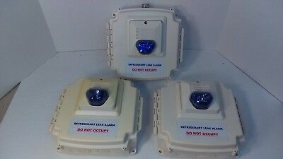 Potter Amseco Refrigerant Leak Alarm Box with Blue Strobe and Horn (Lot of 3)