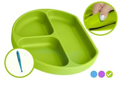 Babiere Silicone Toddler Plate – Powerful Suction Base Stays Put to Highchair –