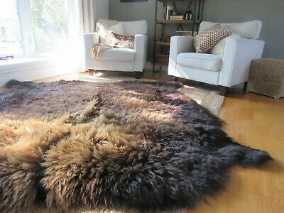 Real Buffalo Hide Rugs Sizes 6 X 5 Genuine American Bison Fur Skin