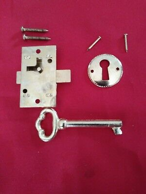 New Lock Set China Cabinet Drawer Desk (( Key Key Hole Cover Lock Screws Nails )