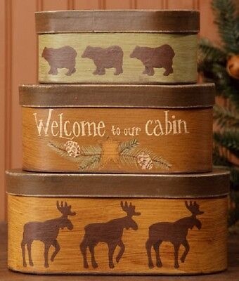 """Primitive Country Rustic Cabin/Lodge """" PINE WOODS """" Moose & Bear Nesting Boxes"""