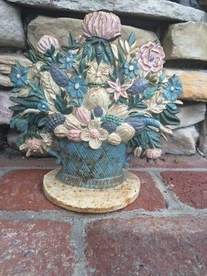 Vintage Painted Cast Iron Figural Doorstop Door Stop Flowers Bouquet Basket
