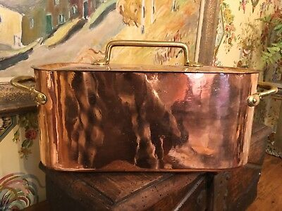 19th Century French Copper Fish Kettle Casserole Stew Pot 12 pounds
