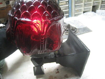 RESTORED VTG CAST IRON  VICTORIAN  PORCH LIGHT  ADJUSTABLE w/ CRANBERRY GLOBE