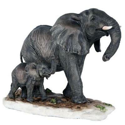 African Elephant with Baby Elephant Endangered Wildlife Collectible Figurine Sta