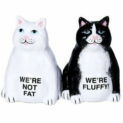 Fluffy Fat Cats Ceramic Magnetic Salt and Pepper Shaker Set