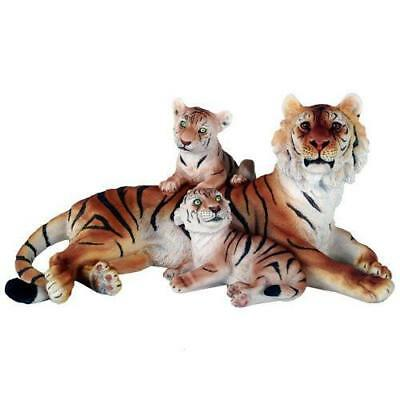 Wildlife Bengal Tiger With Cubs Big Cat 12.5 Inch Lifelike Collectible Statue