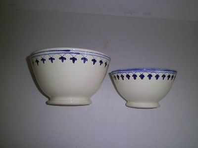 Italy/Portugal? Set of 2 Hand Painted Studio POTTERY Nesting Mixing Bowls NWT