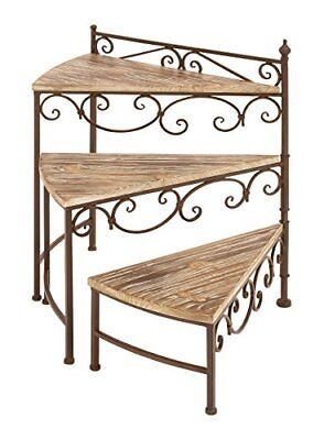Deco 79 66552 Metal/Wood Rotating Stair Step Planter Stand 22 by 26-Inch