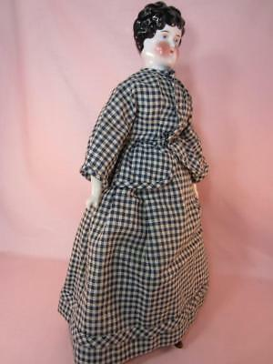 """Exceptional Antique 1800's China Head Doll In Walking Suit 15""""  Slim Lady Body"""