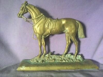 Quality Antique Brass Door Stop. Dressed Horse. Super Detail