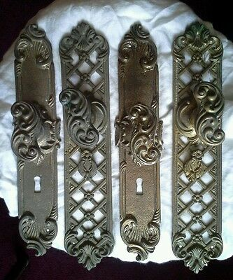 Very Nice 2 X Pair Vintage Brass Door Handle. Escutcheons. Ornate Door Knobs