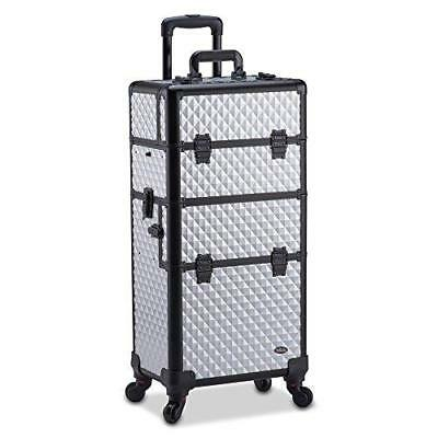 Professional Makeup Artist 2 in 1 Rolling Makeup Train Case Cosmetic Organizer w