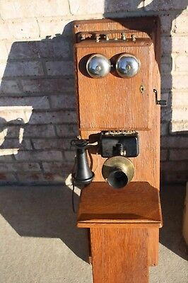 Stromberg Carlson Vintage Telephone Antique Double Box Walnut Wall Crank Phone