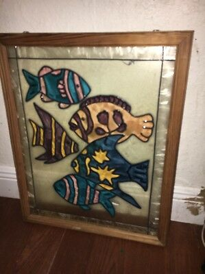 Tiffany Style Stained Glass Window With Tropical Fish