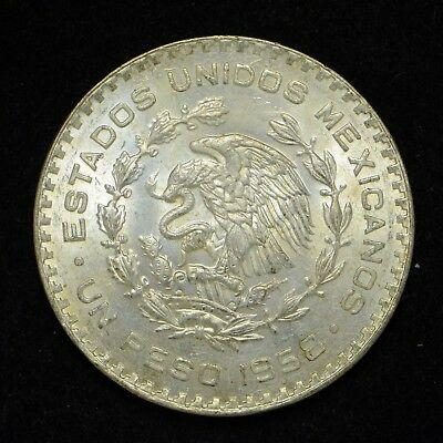 1958 Mexico One Peso Silver Coin (bb273)