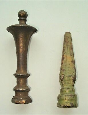 2 Cast Iron Fence Top Finials... Pyramid Spear Style... Chess Piece Style
