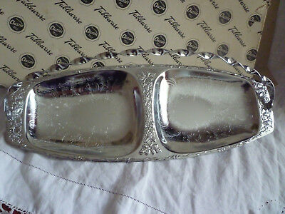 Vintage Queen Anne silver plated cake sandwich tray BARLEY TWIST HANDLES boxed