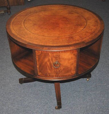 Antique Vintage Duncan Phyfe Burl Wood Leather Top Round Drum Table 1940's