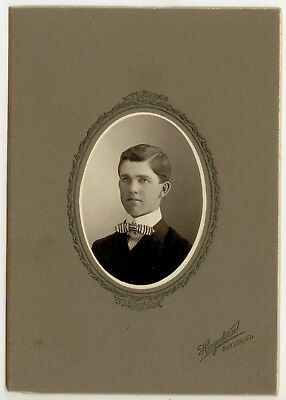 Antique Photo Cabinet Card Portrait Of A Young Man From Butler MO By Hagedorn