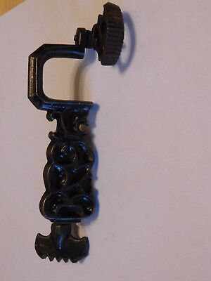 Antique 19th Century Cast-Iron Swing Clamp Fabric Holder with Screw Clamp- -Rare