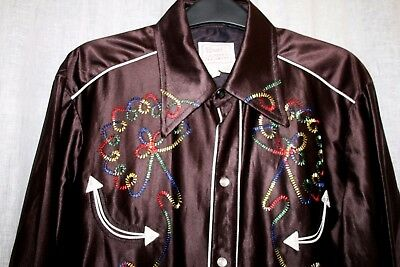 Vintage 50s H Bar C CALIFORNIA RANCHWEAR Brown Satin Cowboy Western Shirt S/M