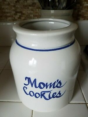 Vintage Pottery MOMS COOKIES 1-gallon stone crock Rare  blue-and-white stoneware
