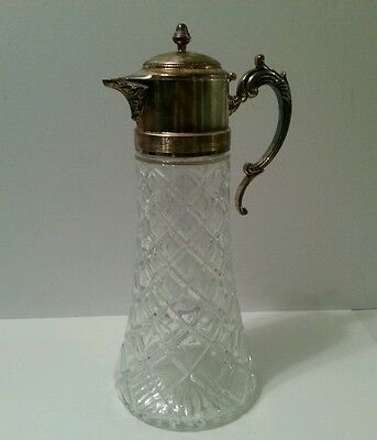Vintage Cut Glass Decanter Pitcher With Silver Top
