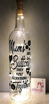 Mums Are Like Buttons Diy Wine Bottle Vinyl Decal Sticker Mothers Day Gift