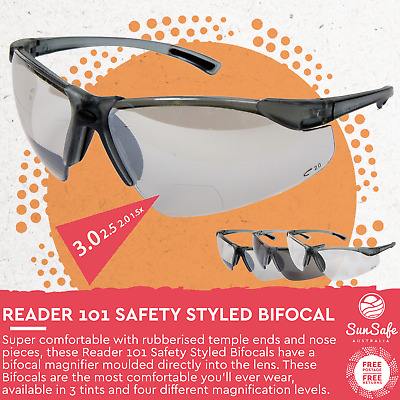 Bifocal Safety Styled Glasses by Vision Safe Magnified 1.5, 2.0, 2.5, 3.0