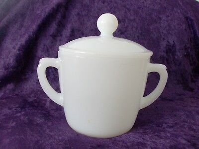 Fire King Oven Ware Vintage Double Handle White Milk Glass Sugar Bowl With Lid