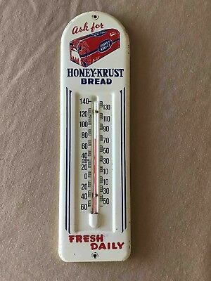 Vintage  Ask for Honey Krust Bread Fresh Daily Metal Advertising Thermometer