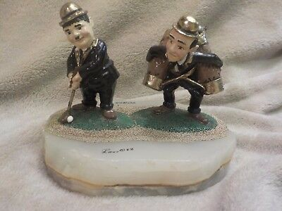 Ron Lee Figure Laurel and Hardy PUTTING PLAYING Golfing Signed Dated LE Number