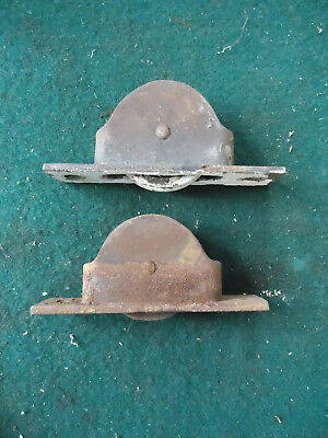 """Lot Of 2 Vintage Antique Cast Iron Window Sash Pulley Weights Rollers  4 3/8"""""""