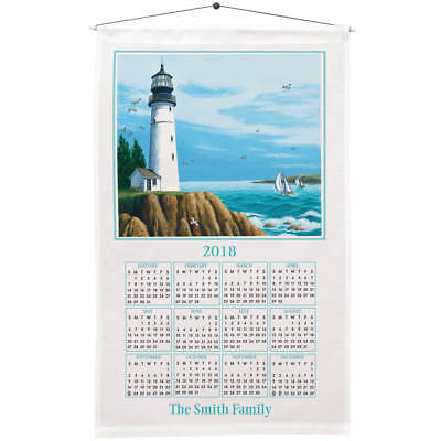 "PERSONALIZED 2018 Calendar Linen Towel LIGHTHOUSE Dowel 27""L x 16""W ~"