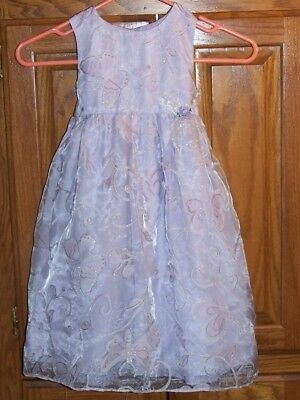 George, Girl's Special/Easter Dress, Size 5T, Lilac W/Butterflies, Sleeveless,