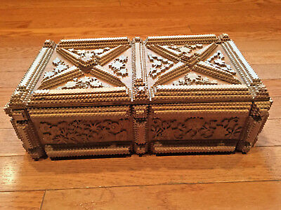 Antique Hand Carved Tramp Art Wooden Jewelry Box