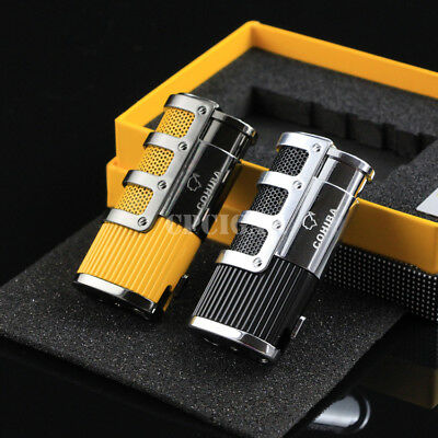 COHIBA Cigar Smoking Lighter 3 Torch Flame with Cigar Punch Cigarette Lighter