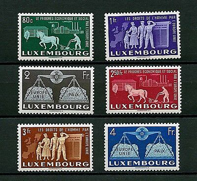 Luxembourg #272-277 (LU887) Complete 1951 United Europe, MNH, FVF, CV$175.00
