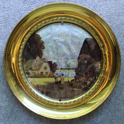 Vintage Foil Art Solid Brass Small Hanging Plate Wall Decor Made in England
