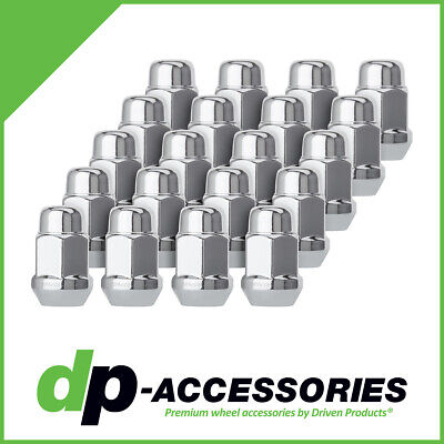 20 Chrome 12x1.5 Closed End Bulge Acorn Lug Nuts - Cone Seat - 19mm Hex