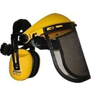 Rocwood Face Guard Visor with Ear Defenders Mesh Strimmer Brushcutter