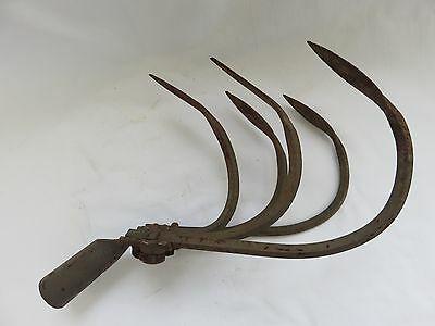 "Antique Farm Cultivator Head Large 12"" x 6"" Rusty Heavy Metal 5 Tines Garden"